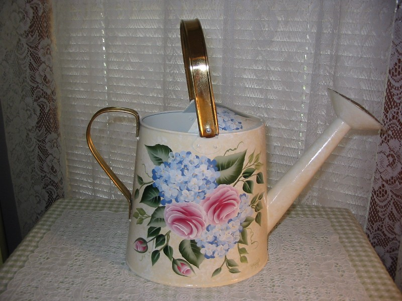 Hand painted watering cans by paula 39 s cottage charm hand painted unique one of kind watering cans - Unusual watering cans ...